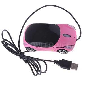 Ratón óptico rosa con forma de coche iluminado con leds.