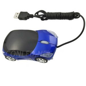 Ratón óptico azul con forma de coche iluminado con leds.